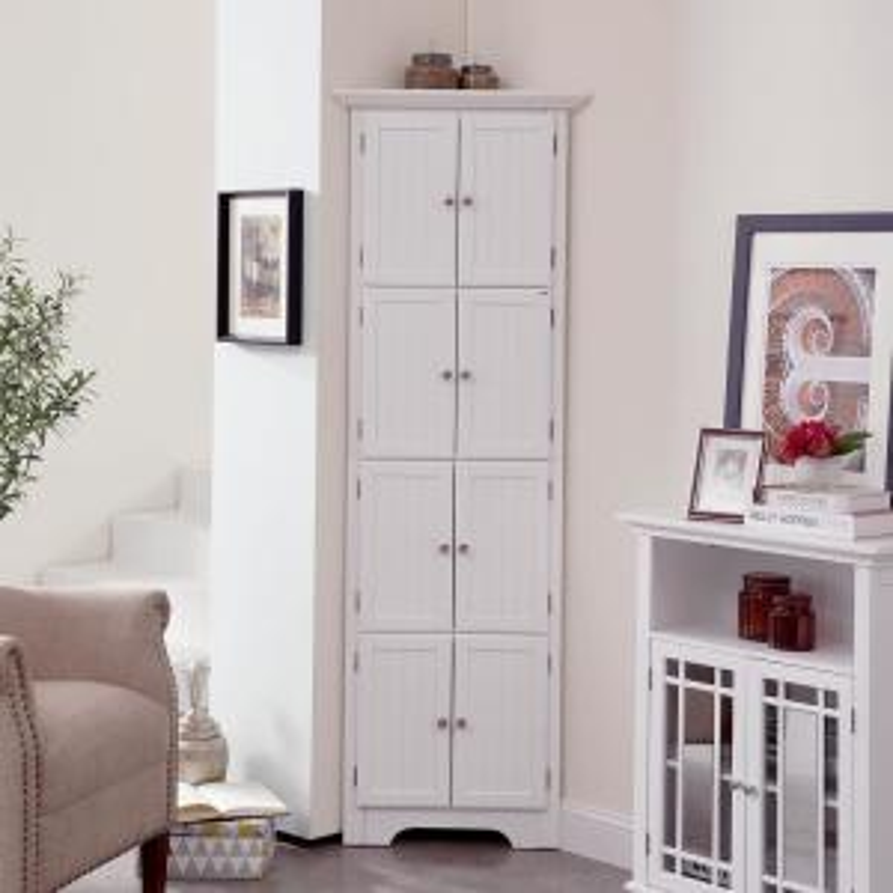 Boyel Living 8-Door White Corner Cabinet JHCA0007-1 - The ...