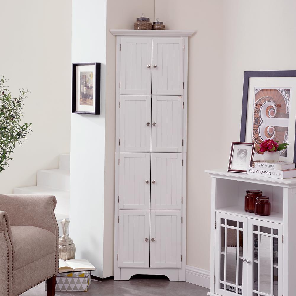 8 Door White Corner Cabinet Jhca0007