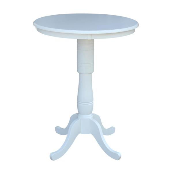 International Concepts 30 in. Pure White Round Bar Table K08-30RT-6B-2