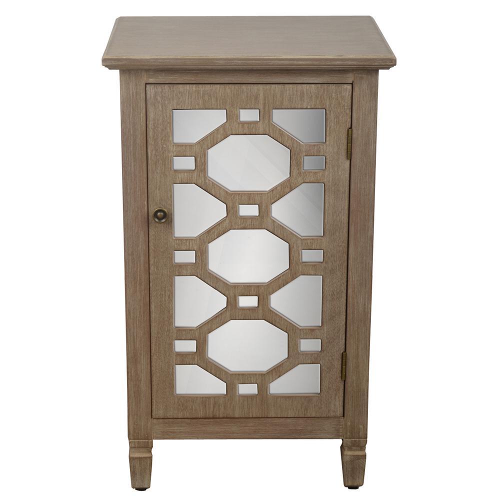 Mirrored Door Winter Wood Accent End Table