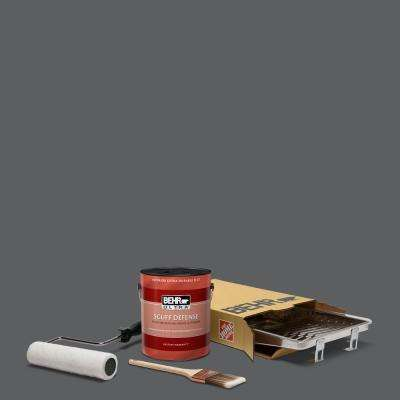 1 gal. #N500-6 Graphic Charcoal Ultra Extra Durable Flat Interior Paint and 5-Piece Wooster Set All-in-One Project Kit