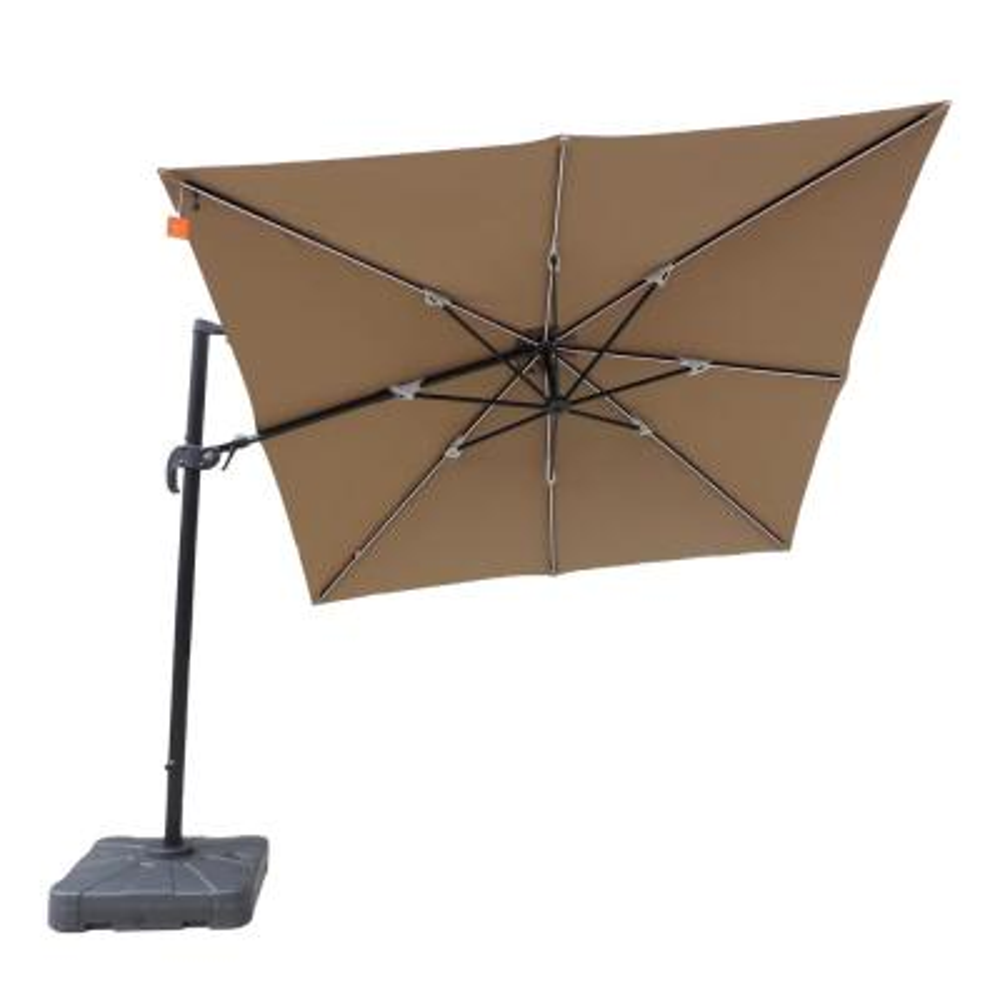 Santorini II Fiesta 10 ft. Square Cantilever Patio Umbrella in Stone Sunbrella Acrylic
