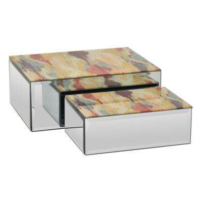 10 in. x 7.75 in. x 4 in. Orange and Gold Glass Mirrored Box (Set of 2)
