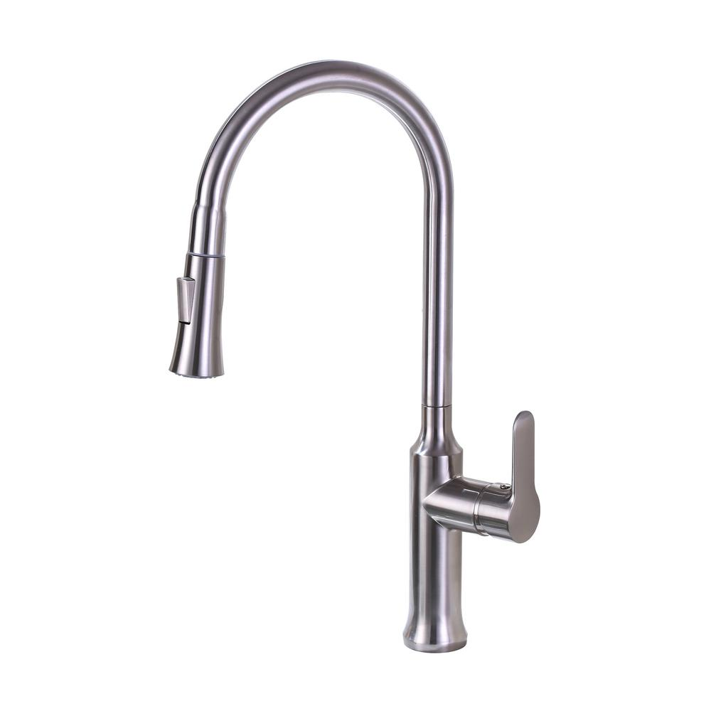 Vanity Art 8.27 in. Single-Handle Pull-Down Sprayer Kitchen Faucet in Brushed Nickel was $117.0 now $81.9 (30.0% off)