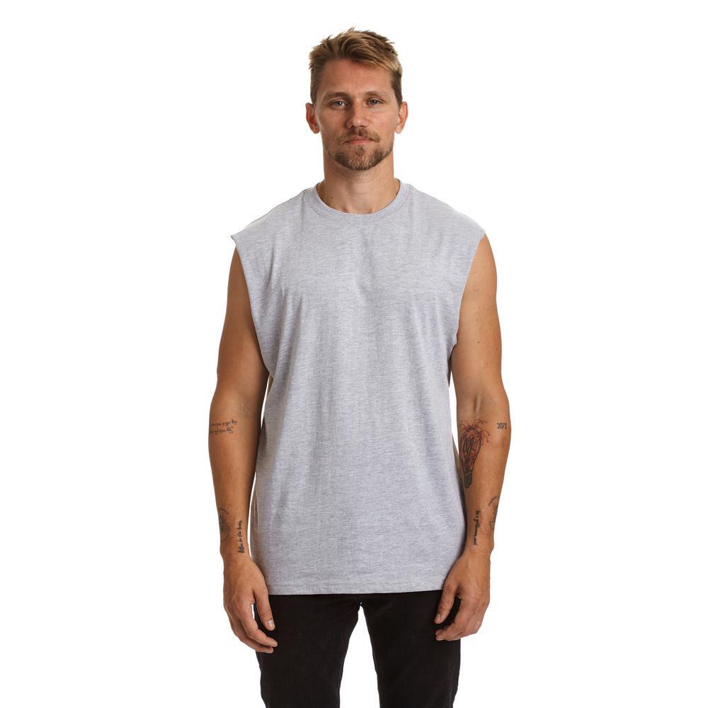 Men's X-Large Heather Gray Cotton Sleeveless T-Shirt