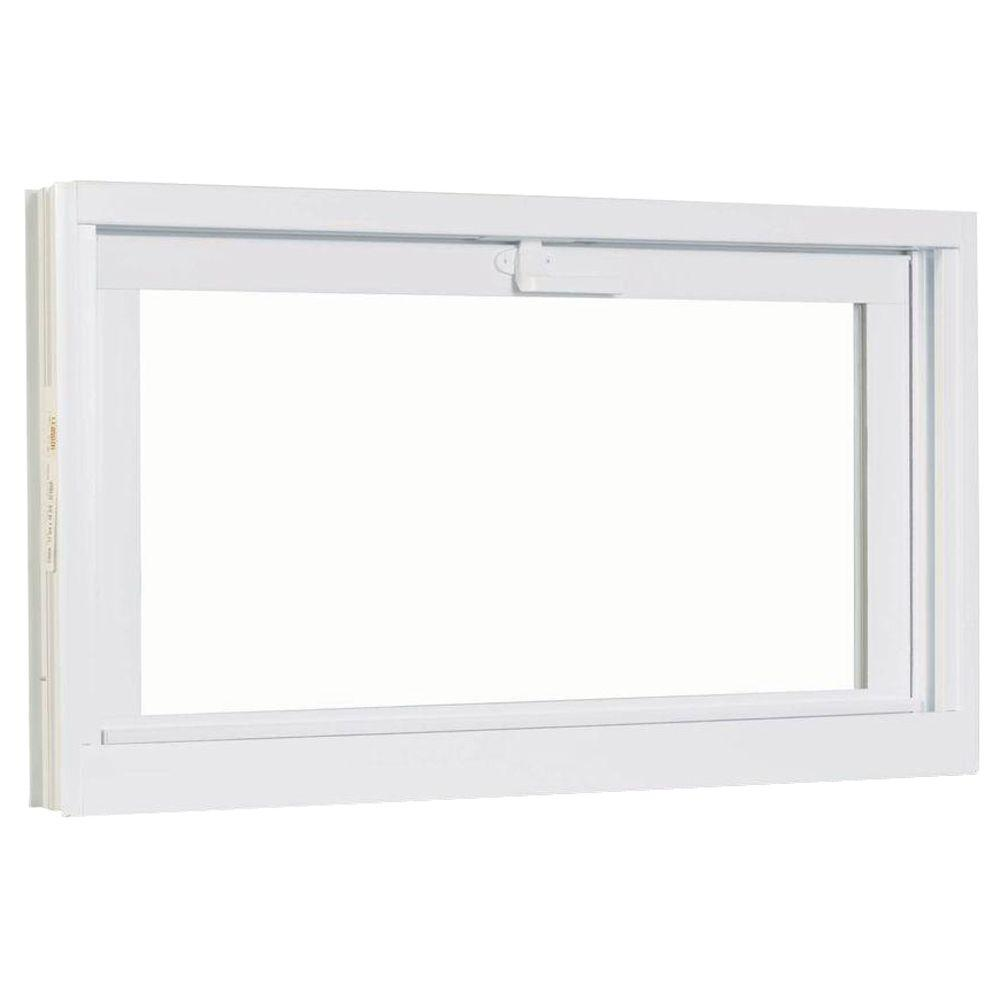 30.75 in. x 18.75 in.  White Hopper Basement Vinyl Window