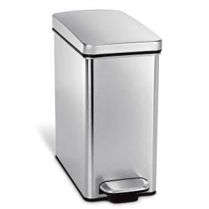 10liter brushed stainless steel slim profile stepon trash can