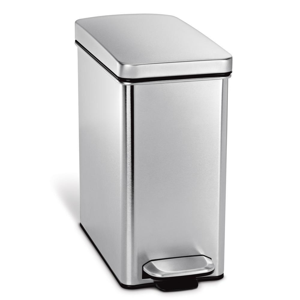 10-Liter Fingerprint-Proof Brushed Stainless Steel Slim Profile Step-On Trash Can