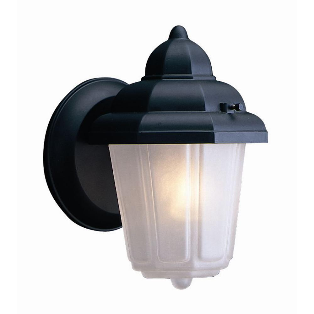 Design House Maple Street Black Outdoor Wall-Mount Die-Cast with Frosted Glass Downlight