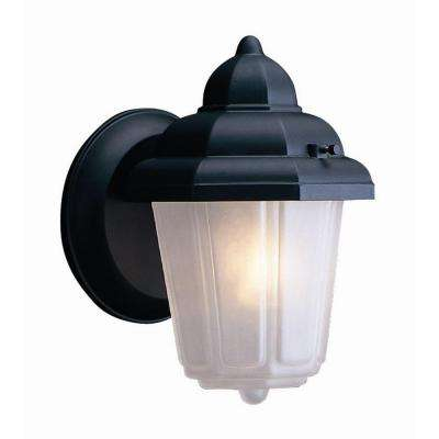 Maple Street Black Outdoor Wall-Mount Die-Cast with Frosted Glass Downlight