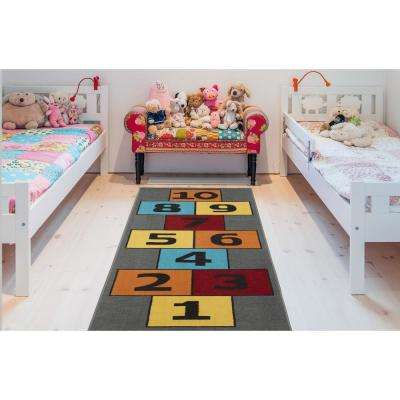 Children Garden's Collection Grey Background Hopscotch Design 3 ft. x 6 ft. Non-Slip Kids Runner Rug