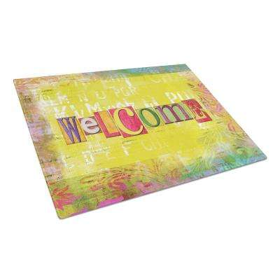 Artsy Welcome Tempered Glass Large Cutting Board