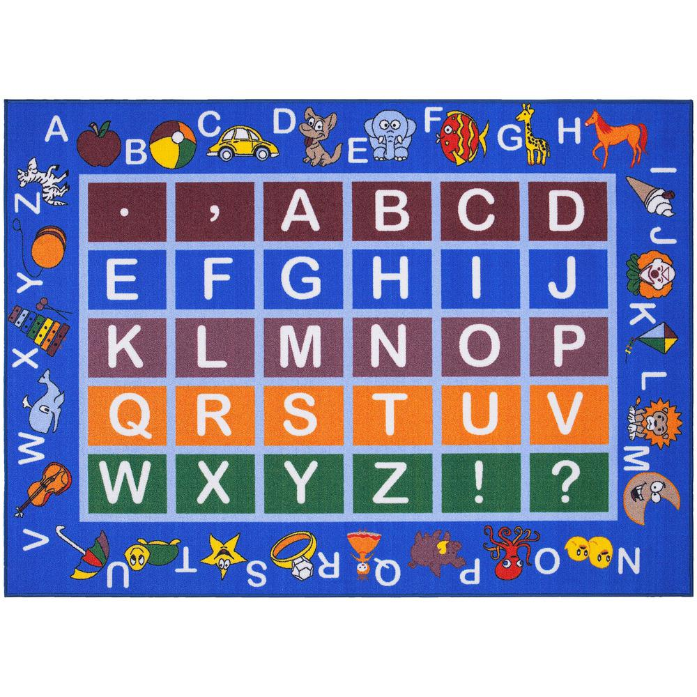 Ottomanson Jenny Collection Light Blue Alphabet Design 8 ft. 2 in. x 9 ft. 10 in. Non-Slip Kids Area Rug