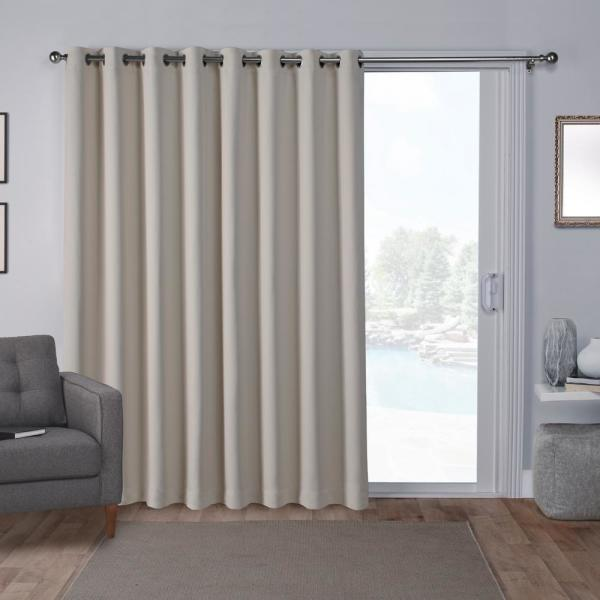 Sateen Patio 100 in. W x 84 in. L Woven Blackout Grommet Top Curtain Panel in Linen (1 Panel)