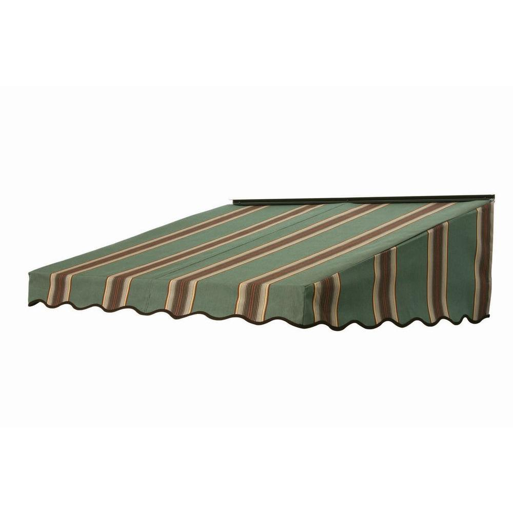 NuImage Awnings 7 ft. 2700 Series Fabric Door Canopy (19 in. H x 47 in. D) in Forest Vintage Bar Stripe