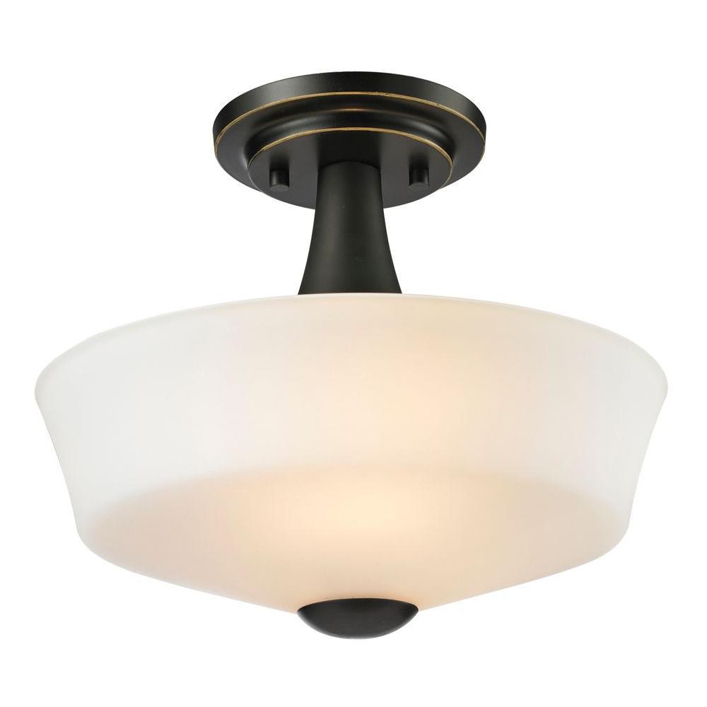 Chic 2-Light Coppery Bronze Semi-Flush Mount Light