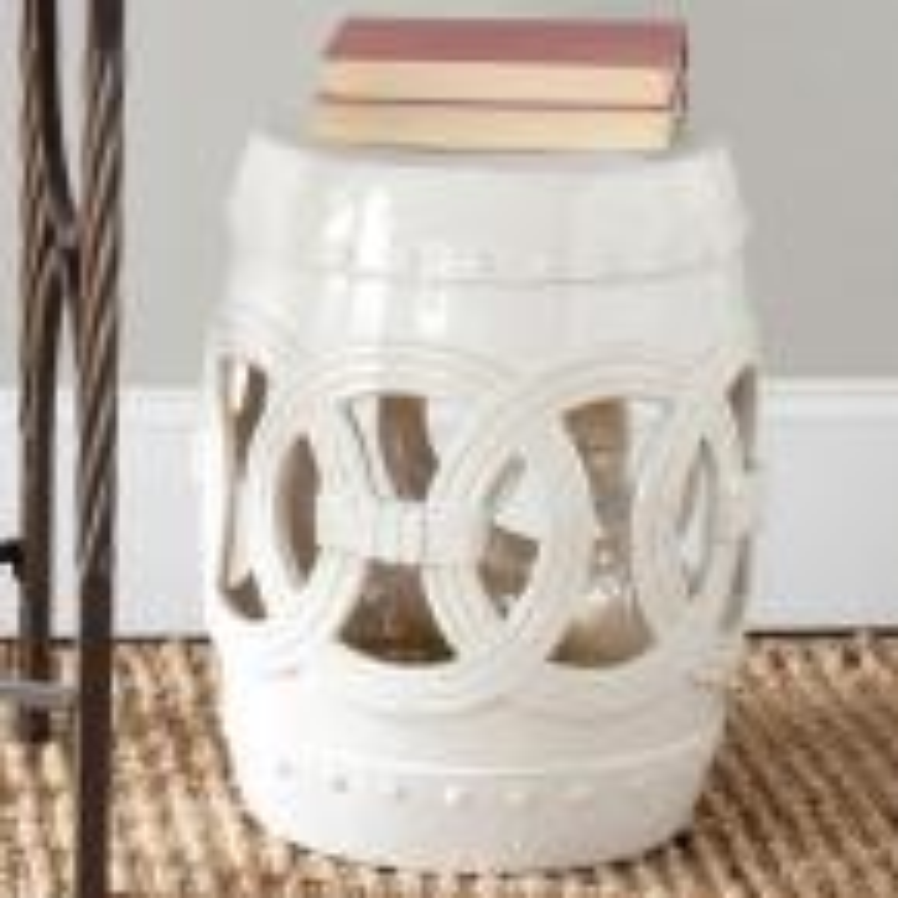 Safavieh Double Coin White Ceramic Patio Stool Acs4500c