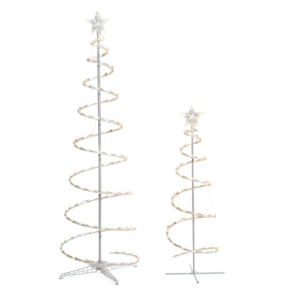 Metal Christmas Tree.Home Accents Holiday Led Lighted Spiral Tree 2 Pack