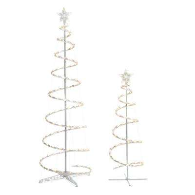 led lighted spiral tree 2 pack