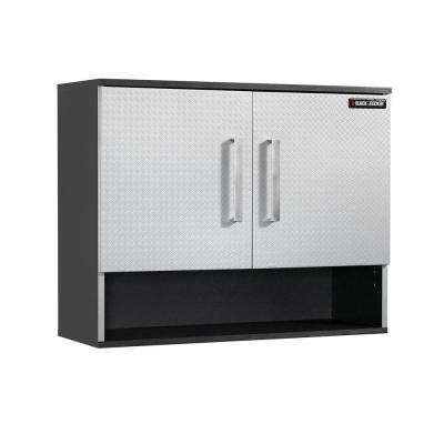 24.89 in. H x 31.25 in. W x 11.75 in. D 2-Shelf Laminate Open Wall Mounted Cabinet with EZ Mount in Charcoal Stipple