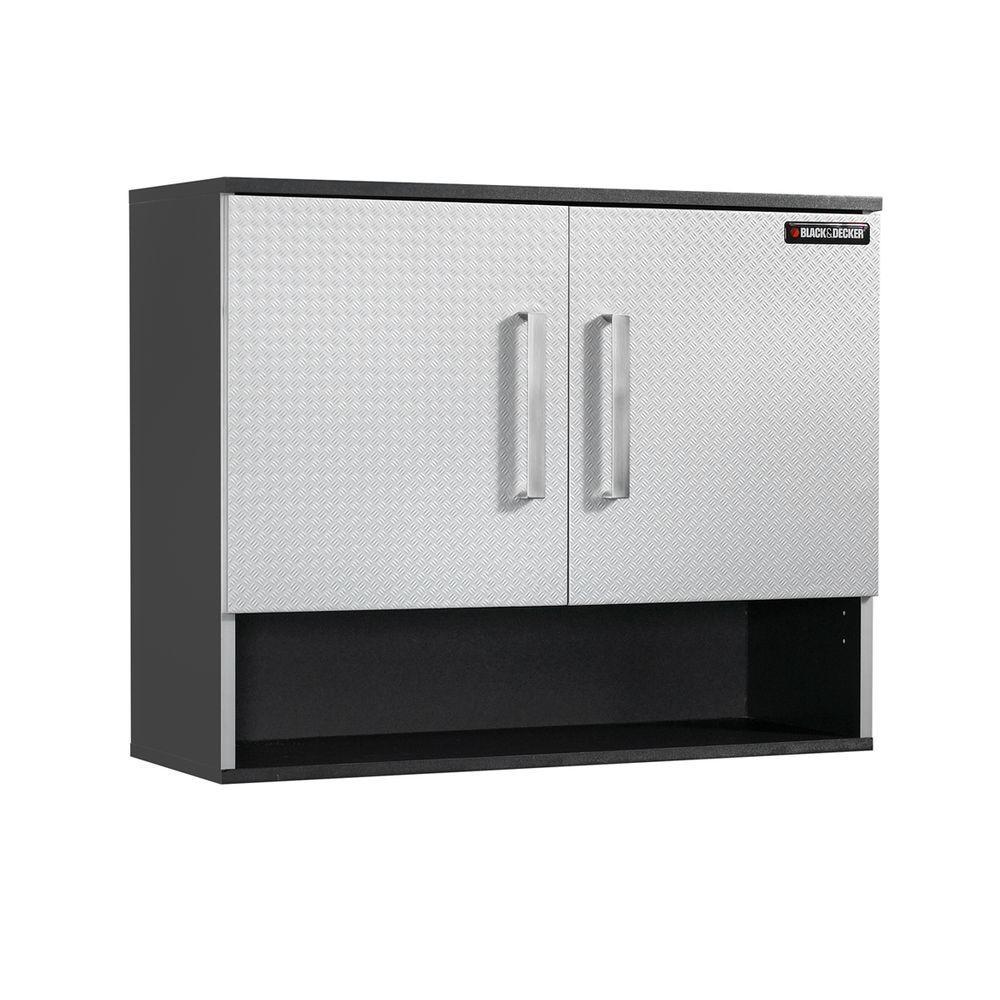 2-Shelf Laminate Open Shelf Wall Cabinet with EZ Mount in Charcoal Stipple