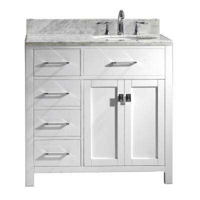 Caroline Parkway 36 in. W Bath Vanity in White with Marble Vanity Top in White with Round Basin