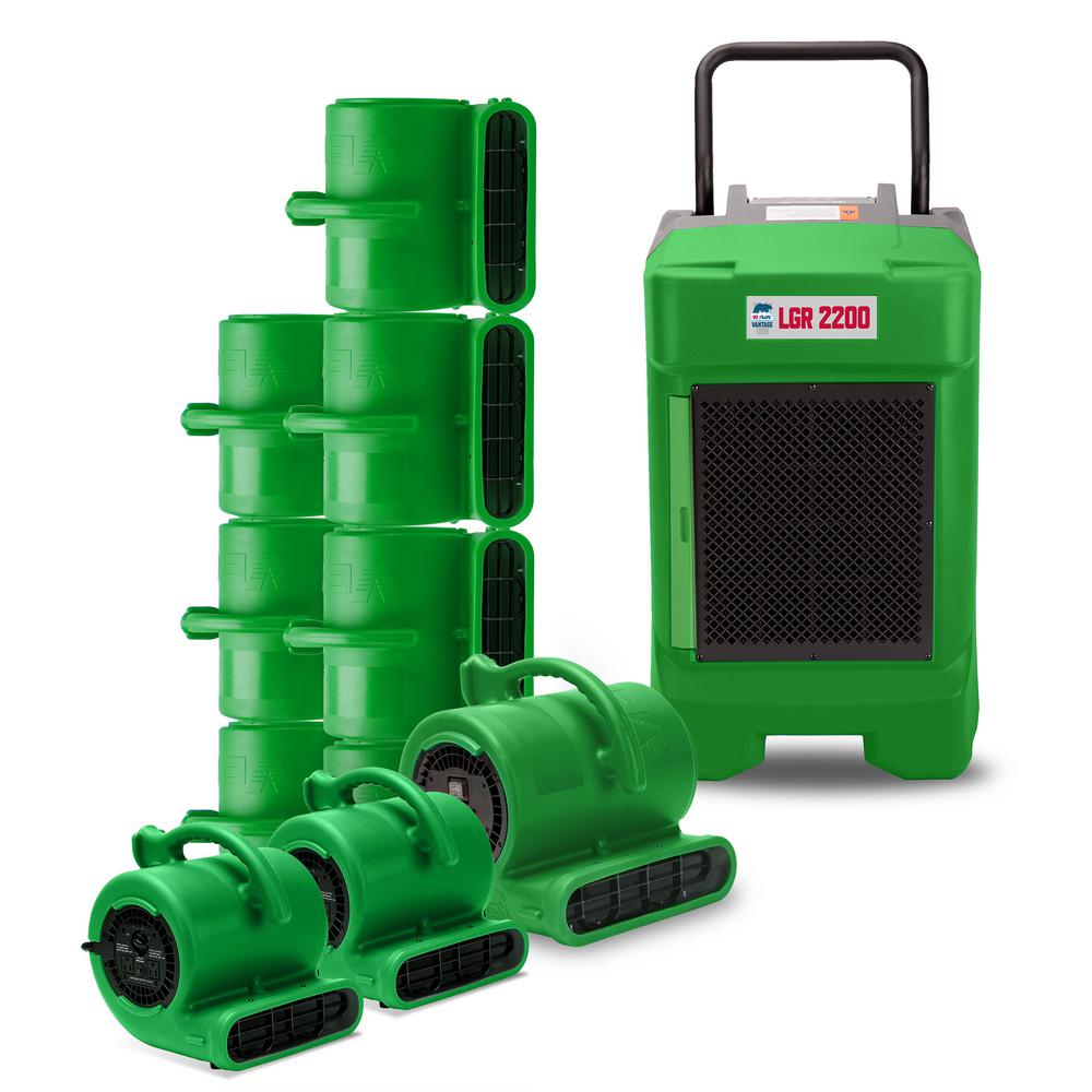 B-Air Water Damage LGR Commercial Dehumidifier 8 Air Mover 2 Mini Air Mover, Green These packs are designed with the water damage restoration professional in mind. Whether you are starting a new water damage restoration business or want to add to your already existing line of equipment, the B-Air Contractor Packs offer you a variety of combinations. This includes air movers, commercial dehumidifiers as well as air scrubbers with special value pricing. Color: Green.