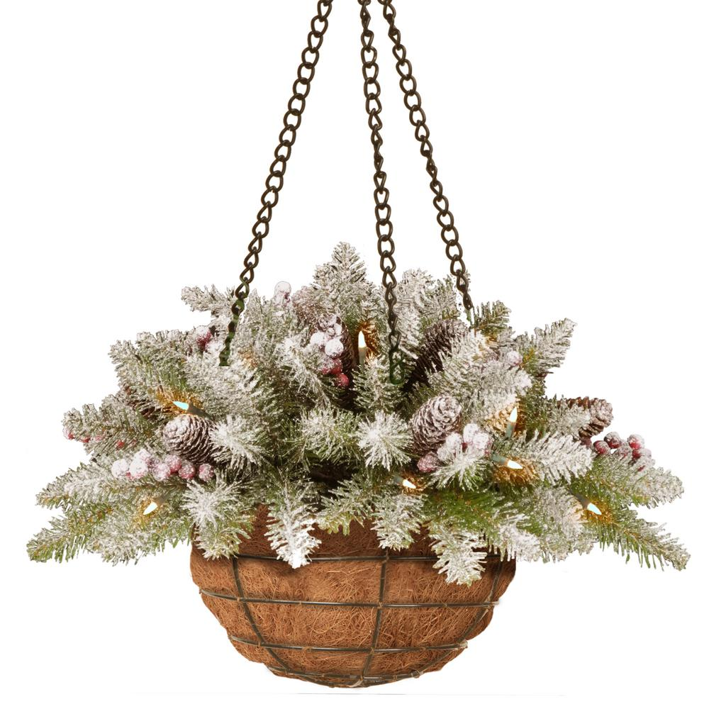 20 in. Dunhill Fir Hanging Basket with Battery Operated Warm White