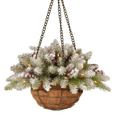 20 in. Dunhill Fir Hanging Basket with Battery Operated Warm White LED Lights