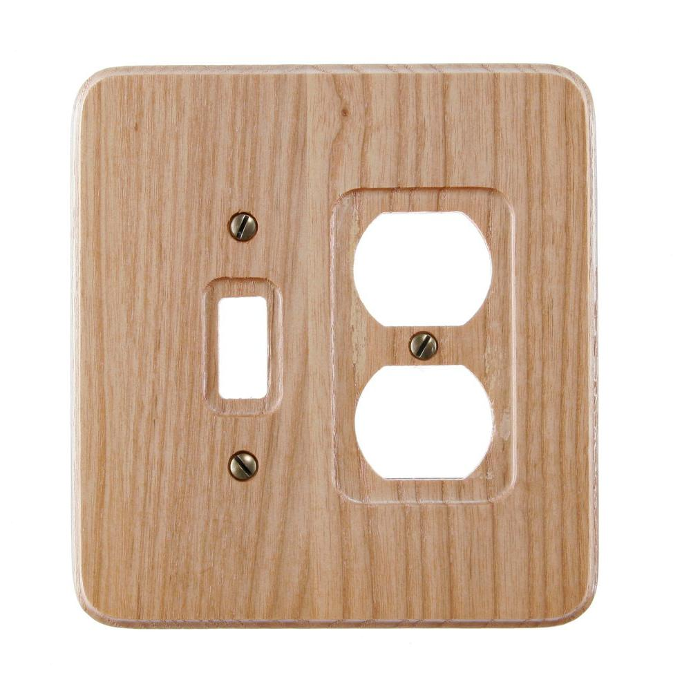 Amerelle 1 Toggle 1 Duplex Wall Plate - Natural Oak