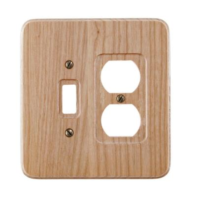 Wood 2-Gang 1-Toggle/1-Duplex Wall Plate (1-Pack)