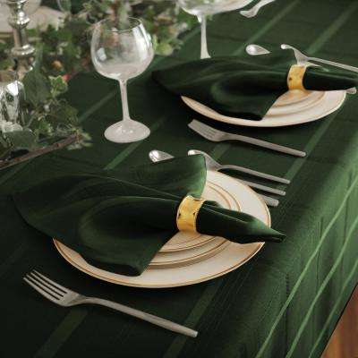 17 in. W x 17 in. L Elrene Elegance Plaid Damask Holly Green Fabric Napkins (Set of 4)
