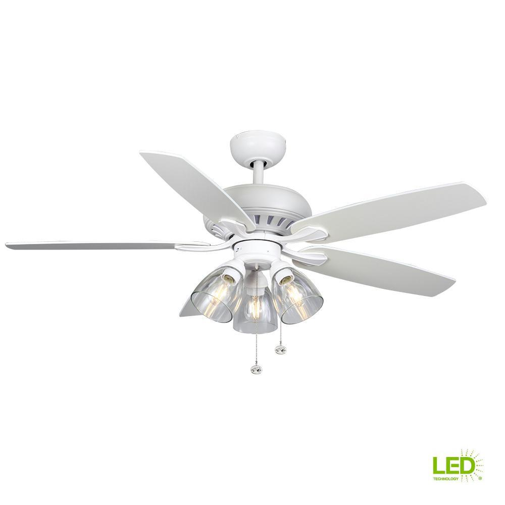 hampton bay rockport 52 in matte white led ceiling fan with light kit 91852 the home depot. Black Bedroom Furniture Sets. Home Design Ideas