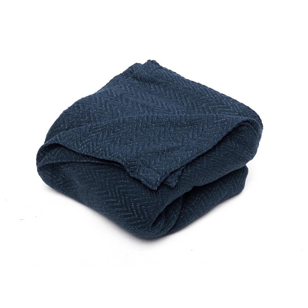 HOME MAISON Josie Cotton Full/Queen Throw Blanket In Navy JODNV=6 /15172