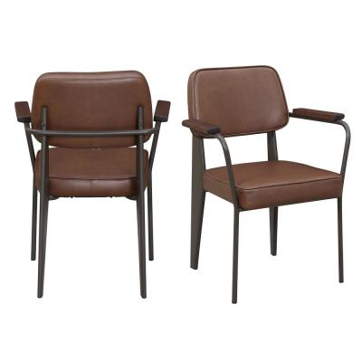 Tremendous Faux Leather Brown Mid Century Modern Accent Chairs Ibusinesslaw Wood Chair Design Ideas Ibusinesslaworg