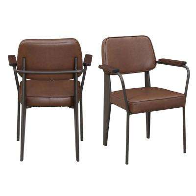 Ashtyn Cognac Faux Leather Chair (Set of 2)