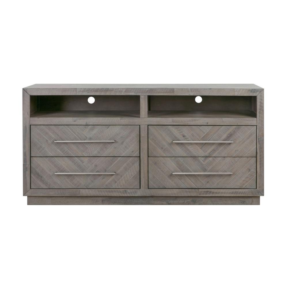 Modus Furniture Alexandra 64 in. Rustic Latte Wood TV Stand with 2 Drawer Fits TVs Up to 64 in. with Adjustable Shelves