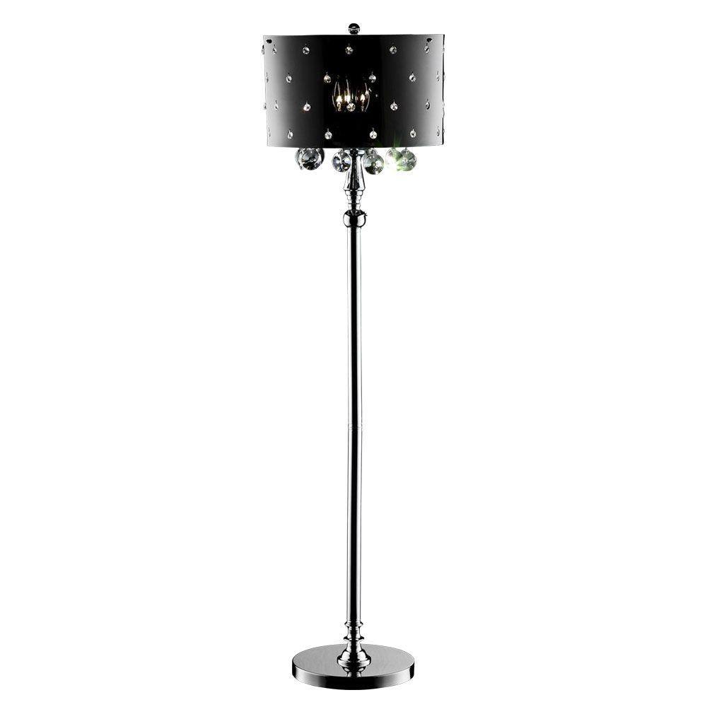 Ok Lighting 59 In Silver Star Crystal Floor Lamp