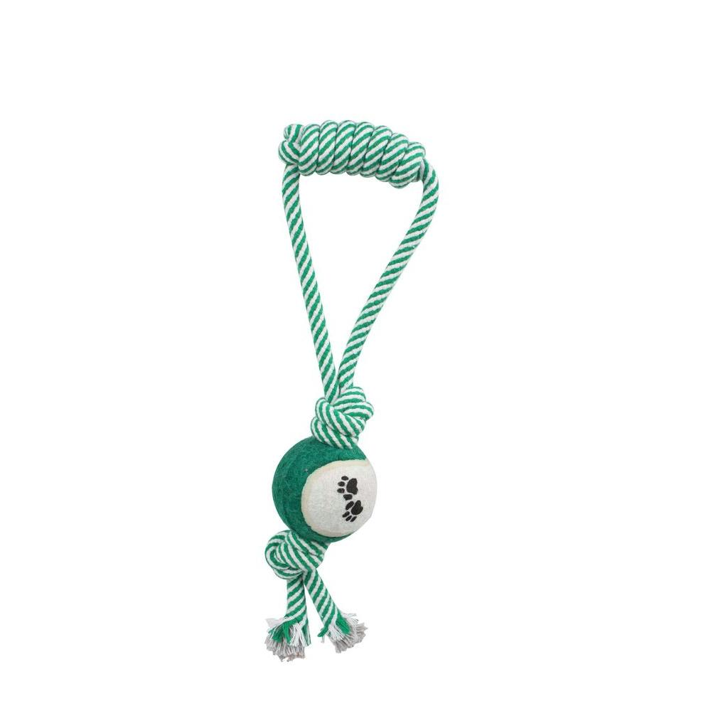 PET LIFE Pull Away Rope and Tennis Ball in Green
