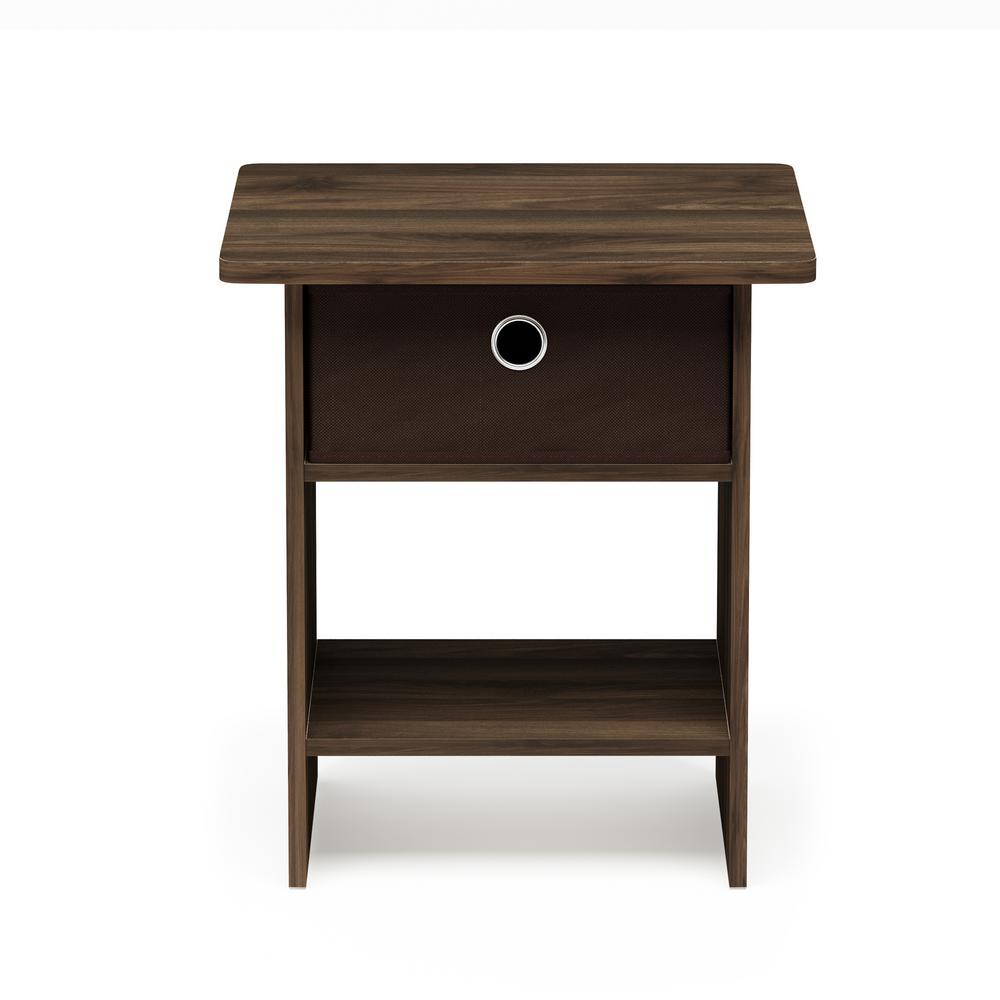 Home Living Columbia Walnut/Dark Brown End Table/Night Stand Storage Shelf with Bin Drawer
