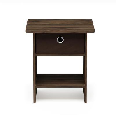 Home Living Columbia Walnut/Dark Brown End Table/Night Stand Storage Shelf with Bin Drawer