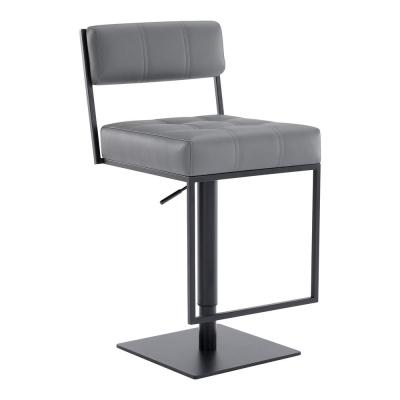 Blossom Contemporary Adjustable 35-44 in. Swivel Barstool in Matte Black Finish and Grey Faux Leather
