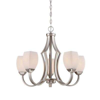5-Light Brushed Nickel Chandelier with Etched White Glass Shades
