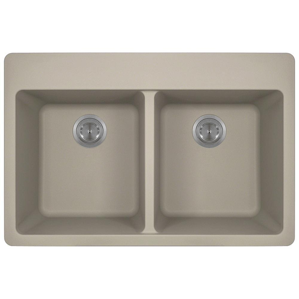 Drop-in Granite Composite 33 in. 4-Hole Equal Double Bowl Kitchen Sink