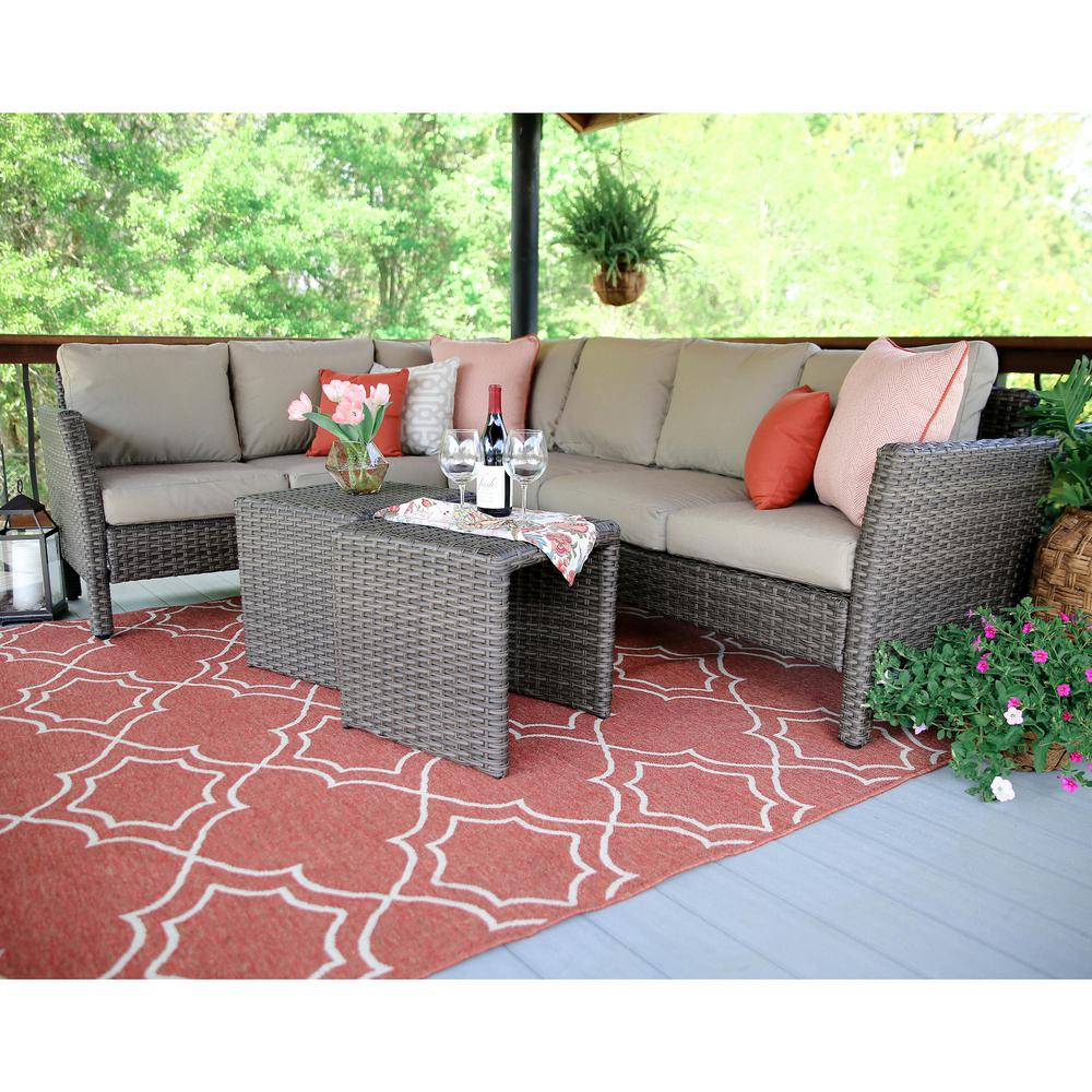 Canton 6 Piece Wicker Outdoor Sectional Set With Tan Cushions