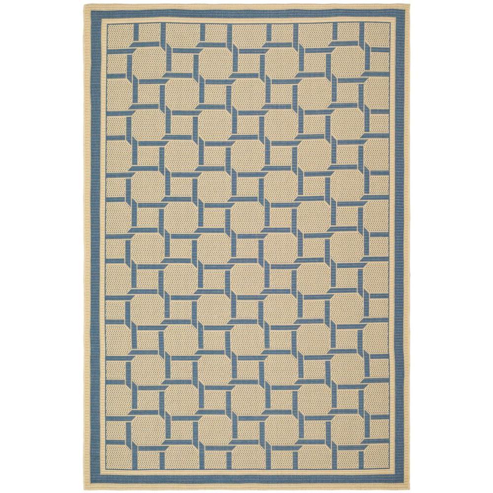 Martha Stewart Living Martha Stewart Resort Weave Cream/Blue 4 ft. x 5 ft. 7 in. Area Rug