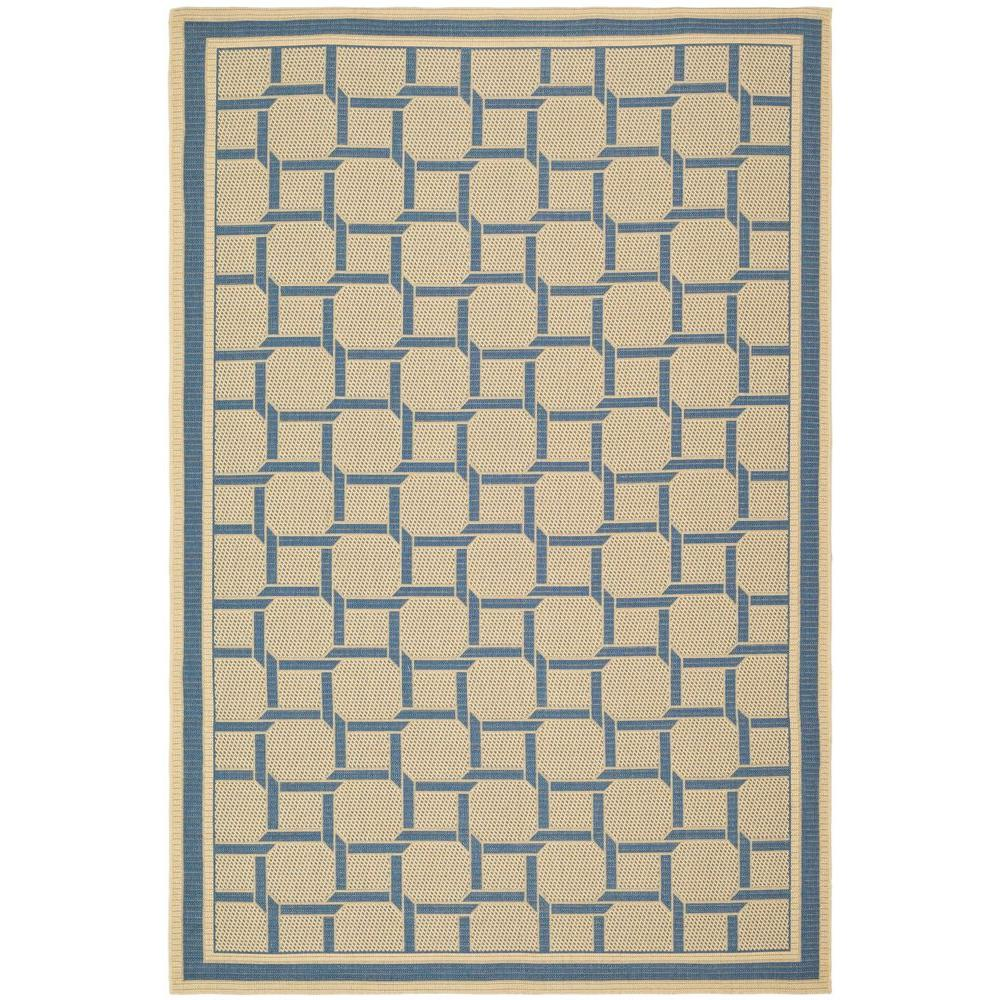 Martha Stewart Living Resort Weave Cream/Blue 8 ft. x 11 ft. 2 in. Area Rug