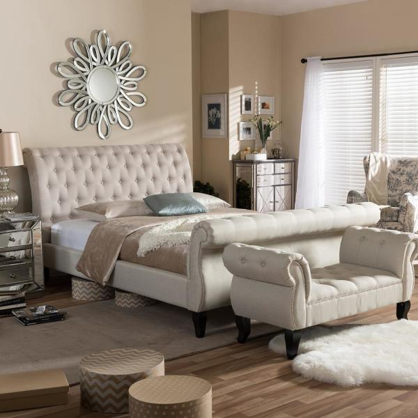 Baxton Studio Antoinette Transitional Beige Fabric Upholstered Queen Size Bed