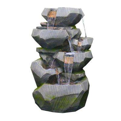 Tall Rock Tier Cascading Fountain With Led Lights