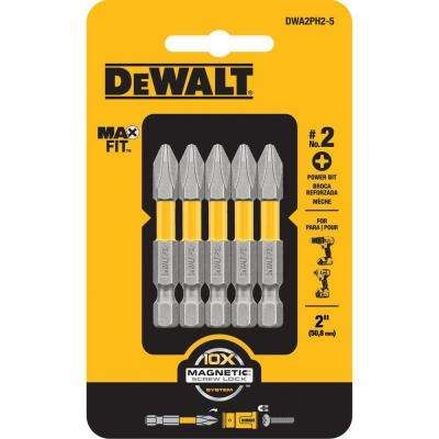 MAXFIT 2 in. PH2 Bit Tip (5-Piece)